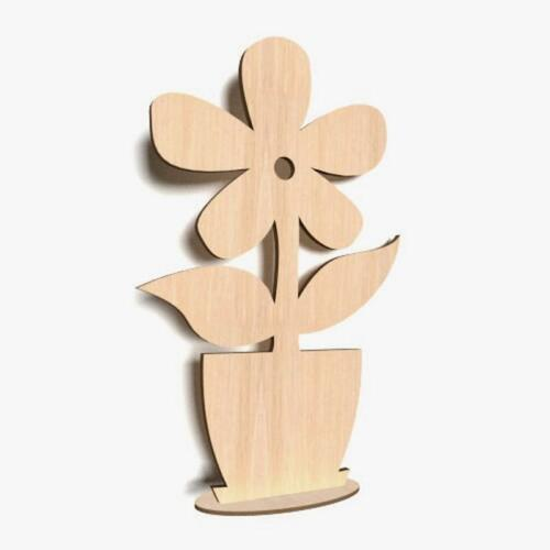 10x stehende Blume Holz Form Blank Basteln Bemalen Raum Dekoration Frühling  FL