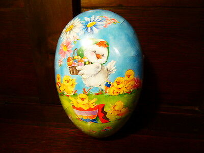 "NEW GERMAN PAPER MACHE FILLABLE NESTING EASTER EGG 6/"" MEDIUM BUNNY FENCE SEALED"