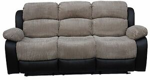 Image Is Loading Madrid 3 Seater Recliner Fabric Sofa Grey Or