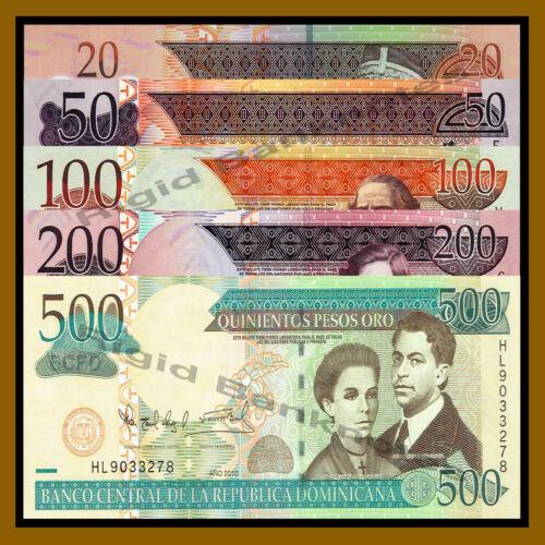 5 Pcs Set 2007-2010 Unc Dominican Republic 20 50 100 200 500 Pesos Oro