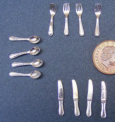 1:12 Scala 12 Piece Metallo Argento Set Posate Miniatura Per Casa Delle Bambole Impermeabile, Resistente Agli Urti E Antimagnetico