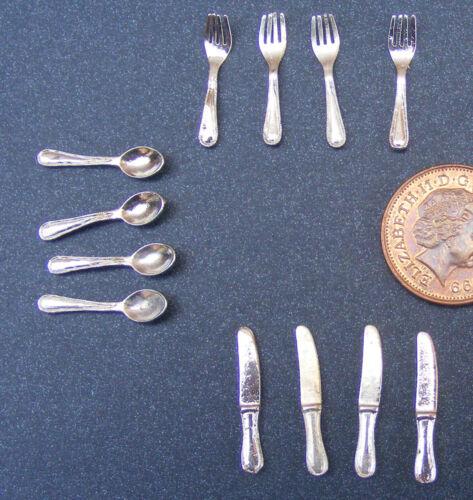 1:12 Escala 12 Piece Plateado Metálico Cubiertos de Miniatura para Casa Muñecas