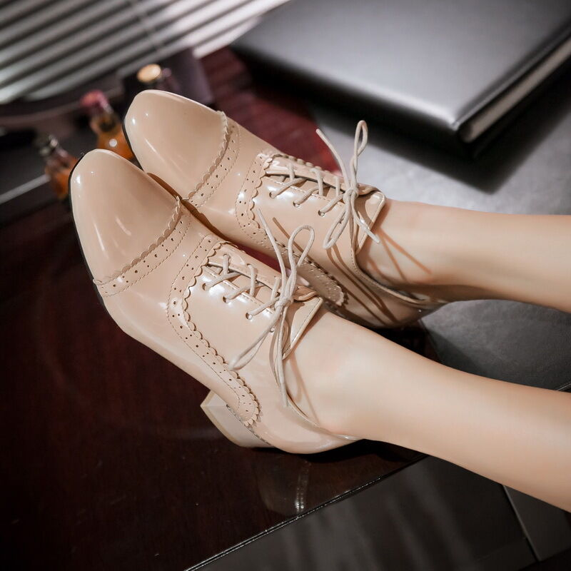 women chunky heels lace up brogues wingtip patent leather casual oxfords shoes