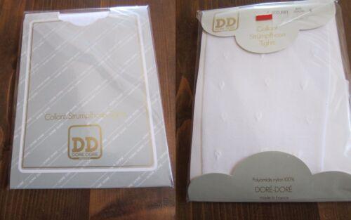 Collant vintage voile blanc avec fantaisie Doré Doré fabrication Française T4