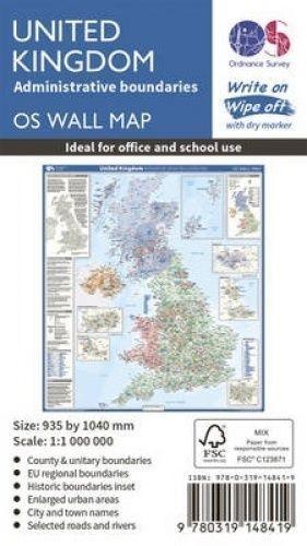United Kingdom Administrative Boundaries by Ordnance Survey (Sheet map, rolled b