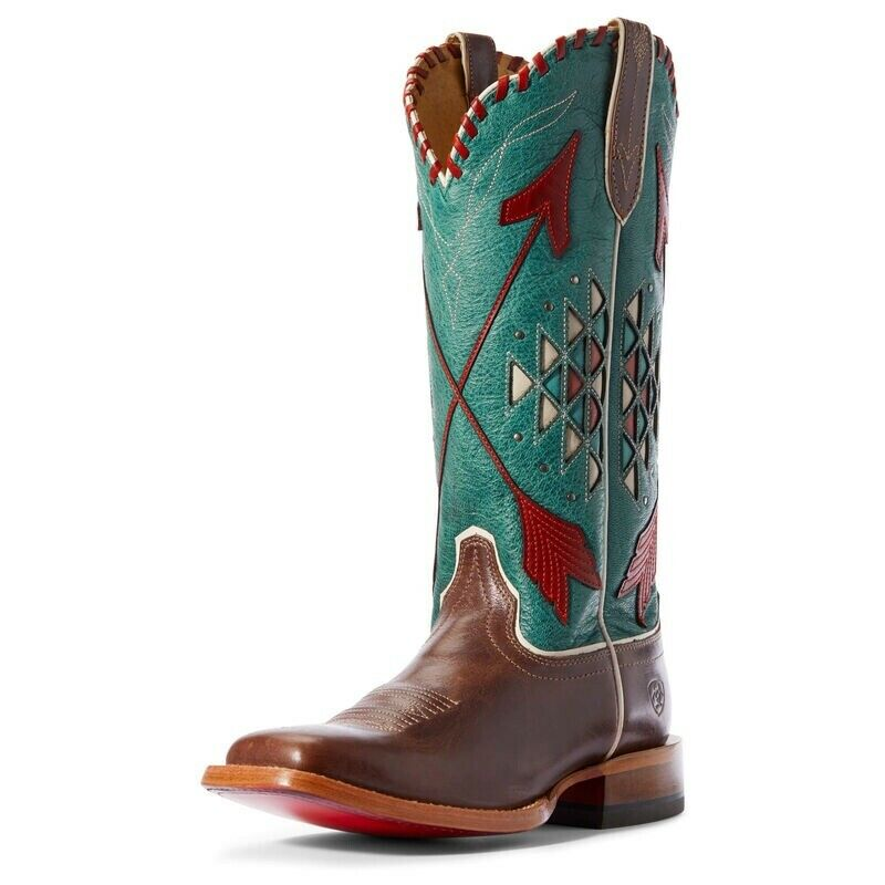 Ariat Arroyo Cowboy Western Boots Inlay Wide Square Toe Teal Womens Size 6.5 B