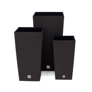 gro rattan hoch pflanzer quadrat plastik garten innen b ro blumen pflanze braun ebay. Black Bedroom Furniture Sets. Home Design Ideas