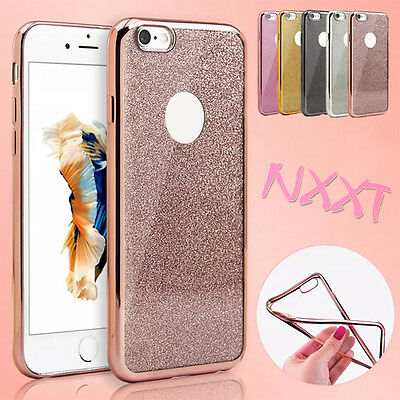 Silikon Handy Hülle Schutz TPU Cover Case Tasche Slim Glitzer Bling Bling iPhone