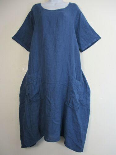 LAGENLOOK 100/% LINEN SHORT SLEEVE BAGGY ITALIAN SUMMER DRESS  SIZES 20-24