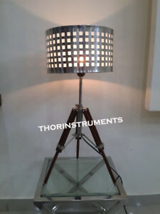 Nautical-Wooden-Chrome-Tripod-Table-Lamp-Stand-Vintage-Floor-Shade-Lamp