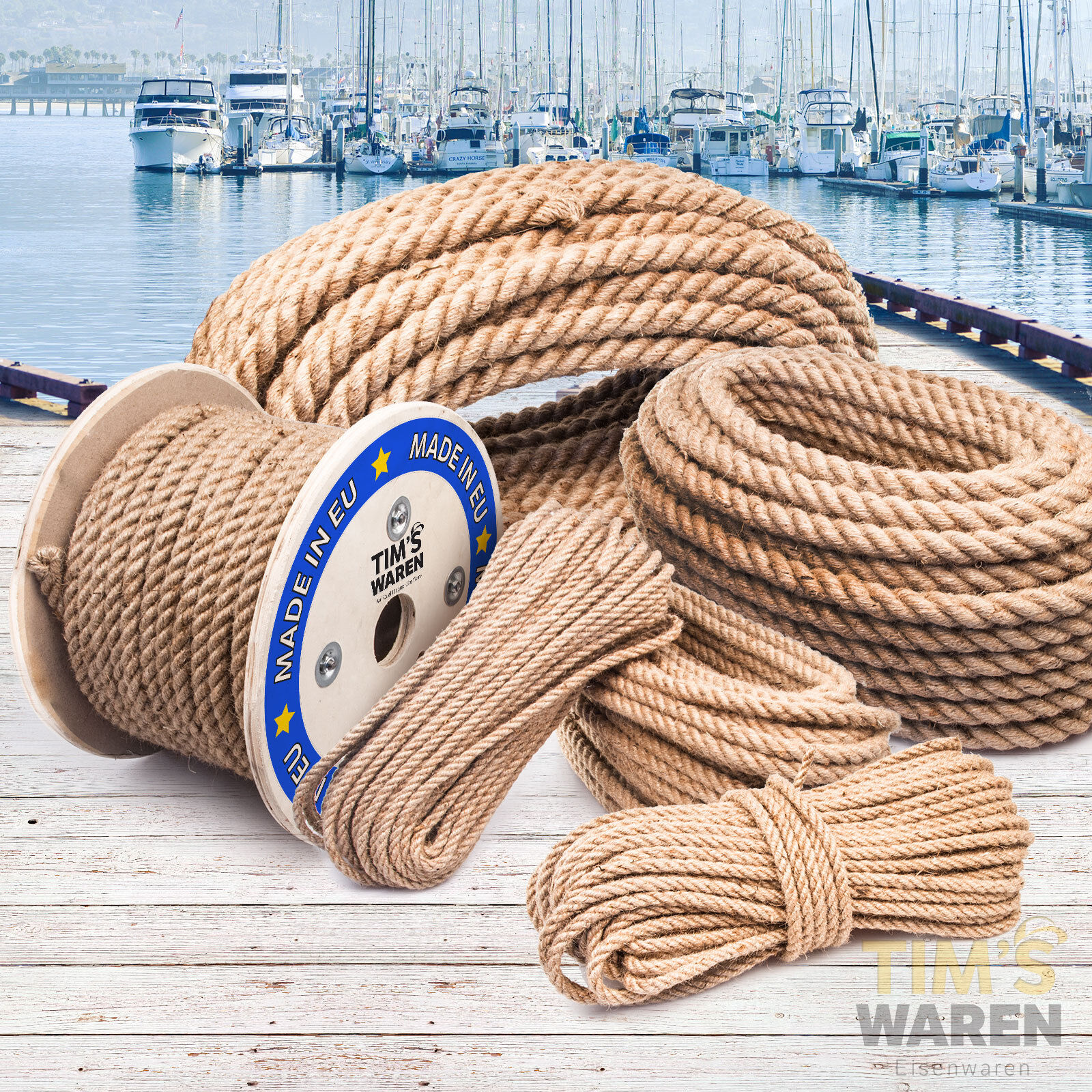 JUTESEIL 30mm Tau Seil Seil Tau Jute Seil Tauwerk Naturhanf Jute Rope Tauziehen 10-50m d220c0