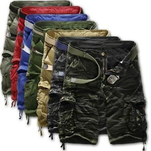 Mens-Casual-Army-Combat-Camo-Work-Cargo-Shorts-Pants-3-4-Trousers-Cotton-Bottoms