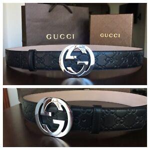 02986a2cf51d3 New w  Tags Authentic Black Guccissima Gucci Belt 95 cm fits 30-34 ...