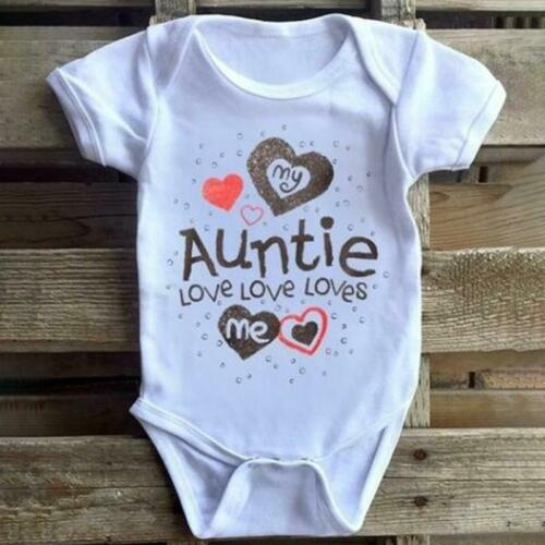 My Auntie Loves Me Print Baby Bodysuit Toddler One Piece Baby Grow Baby Gift FI
