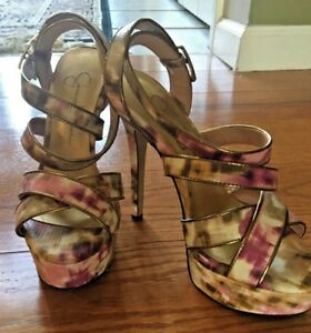 c03019986ca Image is loading Jessica-Simpson-Floral-Platform-Size-6-MultiColor-Strappy-
