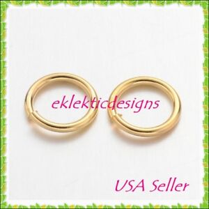 8mm-18gauge-50pc-BRASS-NF-Gold-Plated-Open-Jump-Rings-Findings-Earrings-Necklace