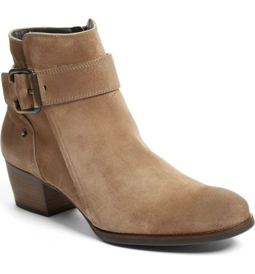 398 Paul Green Jano Moto Booties Ankle Boots Beige Suede 6.5 Zipper-Buckle shoes