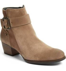 Details about $398 Paul Green Jano Moto Booties Ankle Boots Beige Suede 6.5 Zipper Buckle Shoe