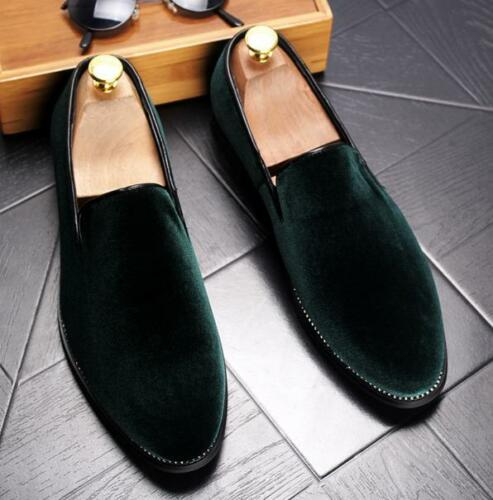 Fashion Men British Pointed Toe Velvet Loafers Casual Dress Formal Slip On Shoes