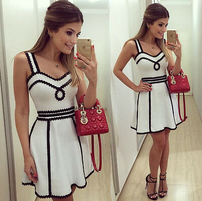 2015 Sexy Women Short Mini Casual Dress White Party Evening Cocktail Sleeveless