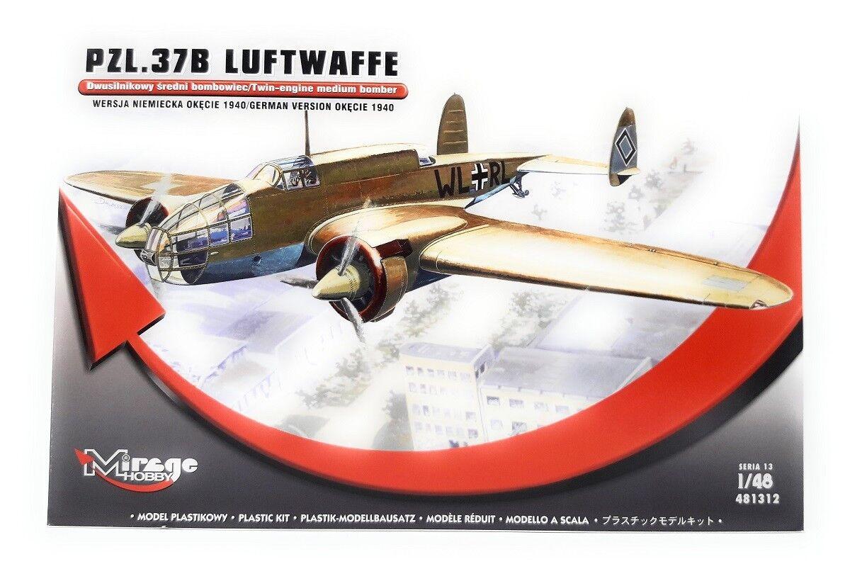 Mirage Hobby Plastic Model Kit 1 48 Airplane PZL.37B Air Force