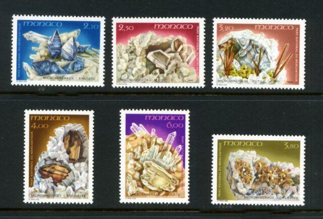 FRANCIA MONACO 1990 minerali in del Mercantour Set di 6 SG 1987-1992 Gomma integra, non linguellato/UMM