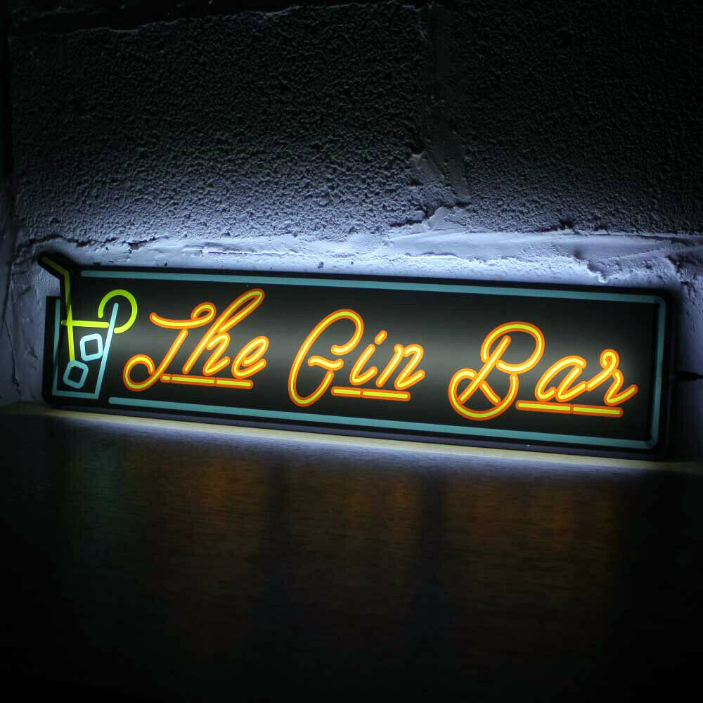 LED The Gin Bar Sign, Light-up Home Bar Sign, Neon Sign Night Club Drinking Sign