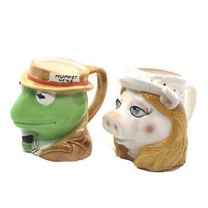 Vintage-Miss-Piggy-amp-Kermit-the-Frog-3D-Figural-Mugs-Sigma-Muppets-Henson-Assoc