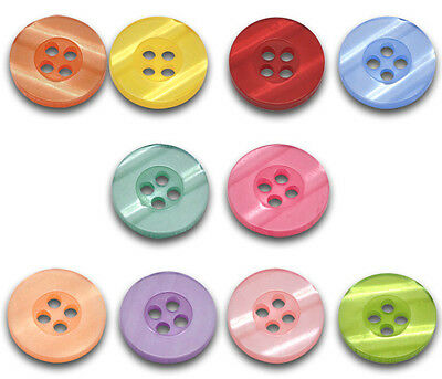100 New Nice Mixed 4 Holes Resin Sewing Buttons Scrapbook 15mm