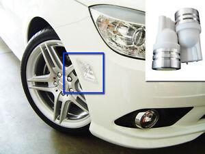 Two-T10-LED-Bulbs-Wedge-White-194-168-W5W-Mercedes-Turn-Side-Marker-W20