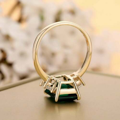 3Ct Emerald Cut Green Emerald Solitaire Engagement Ring 14K Yellow Gold Finish