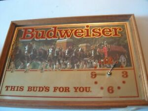 Budweiser-Anheuser-Busch-This-Bud-039-s-For-You-Clydesdales-WALL-CLOCK-Mirror-Sign