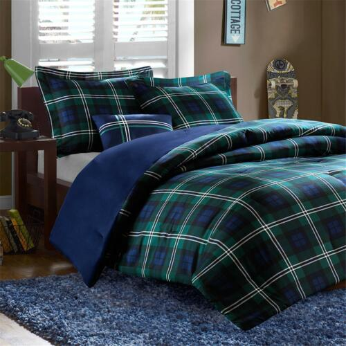 CLASSIC SOFT BLUE GREEN WHITE NAVY PLAID STRIPE CABIN COMFORTER SET & PILLOW