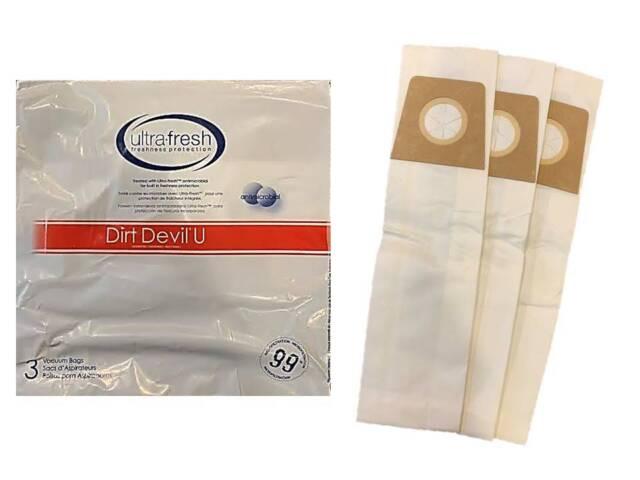 3 Royal Dirt Devil Type U Vacuum Cleaner 3 pack of Bags Style U Buy 2 Get 1 Free