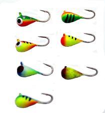 14pk 6mm Glow Tungsten ICE JIGS 2.0g #8 Hook Walleye Crappie Perch Fly Fishing