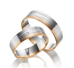 2 X 585 Weissgold Rotgold Rosegold Eheringe Trauringe Verlobungsringe