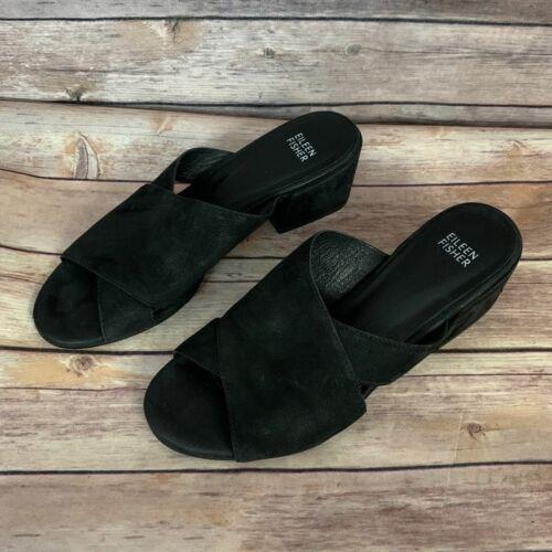 Eileen Fisher Haven Nubuck Leather Slide Sandals (