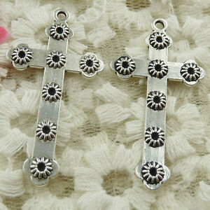 #4650 Free Ship 102 pcs Antique silver cross charms pendant 45x24mm