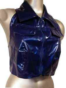 Blue-PVC-Crop-Top-Zip-front-size-14-amp-38-034-chest-Large-Sexy-sleeveless-jacket-top