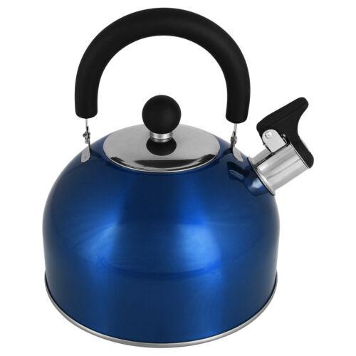 2,5L Flötenkessel Edelstahl Pfeifkessel Wasserkessel Wasserkocher Teekessel Blau