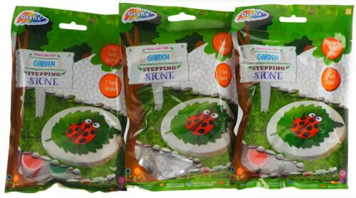Set Of 3 Make And Paint Your Own Plaster Ladybird Stepping Stone Kits
