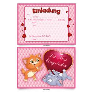 Einladungen-8-Stueck-034-Katzen-034-zum-Geburtstag-Einladungskarten-Karten