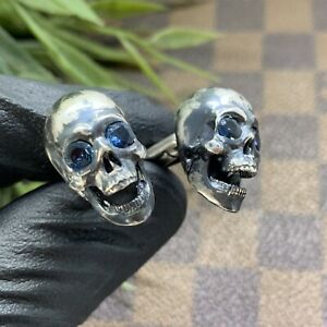 Skull-Cufflinks-Handcrafted-Sterling-Silver-925-set-with-real-blue-sapphire