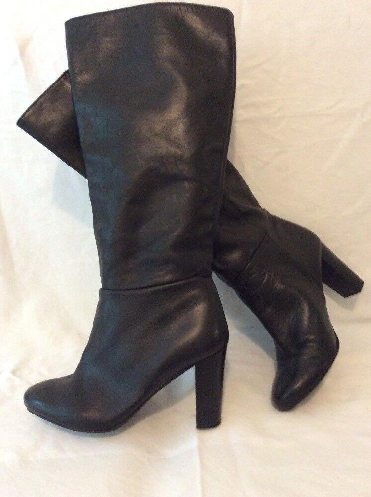 NAF NAF Black Knee High Leather Boots Size 39