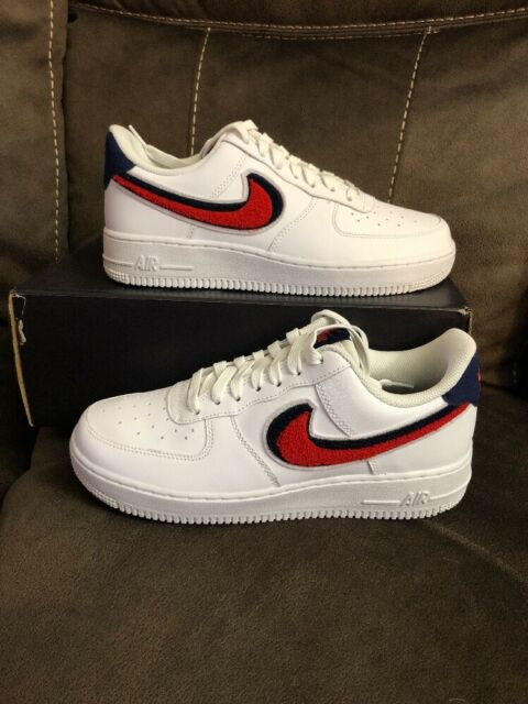 62d0eec4a55 Nike Air Force 1 '07 LV8 3D Chenille White Red Blue 823511 106 size 11