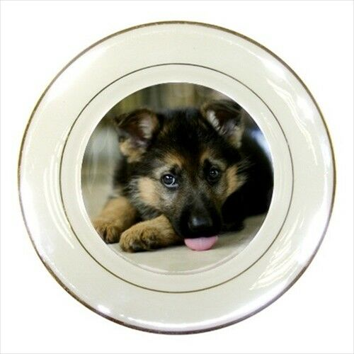 German Shepard Porcelain Plate w/ Display Stand - Puppy Dog