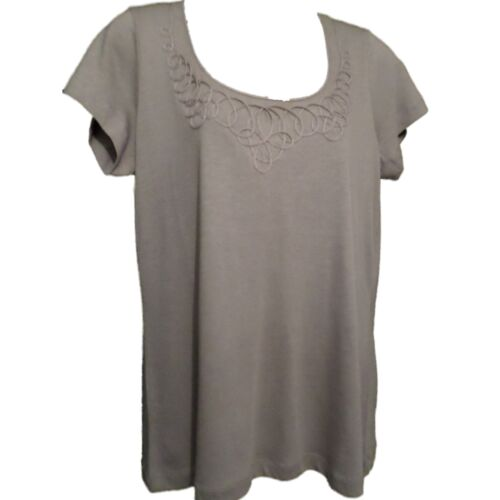 Branded Short Sleeve Pattern Trimmed Scoop Neckline T-Shirt Top Mocha Brown