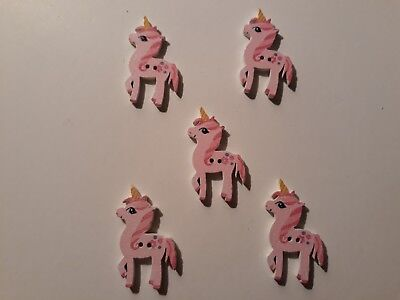 5 CUTE PINK UNICORN SHAPED 2 HOLED WOODEN BUTTONS 30mm x 20mm