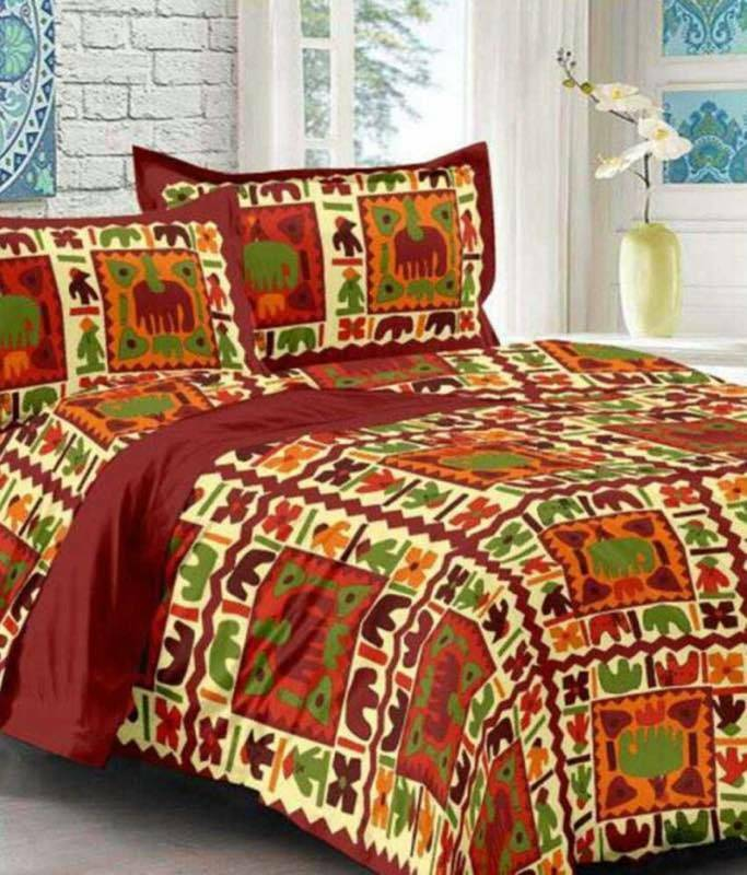 Indian Rajasthani Handmade Red Elephant Queen Bed Sheet 2 Pillow Covers Sets