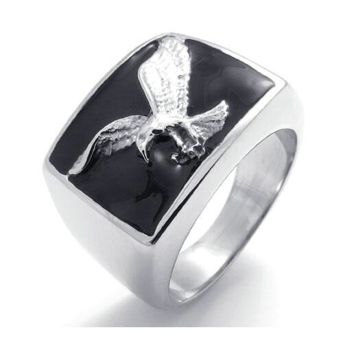 Mens Biker Black Silver 2-Tone Stainless Steel Hawk Eagle Charm Ring Gift New